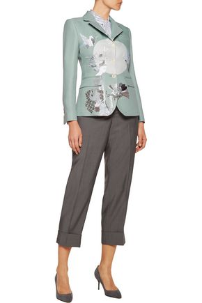 THOM BROWNE Embroidered silk-blend crepe blazer