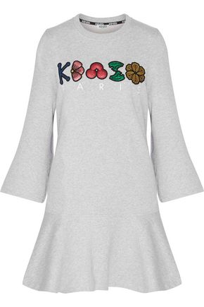 KENZO Glittered-appliquéd embroidered cotton-jersey mini dress