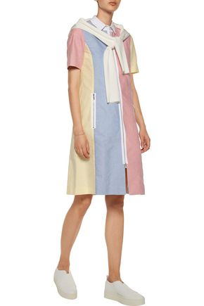 THOM BROWNE Funmix grosgrain-trimmed color-block cotton-oxford dress