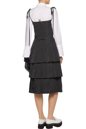 THOM BROWNE Satin-trimmed tiered silk-faille dress