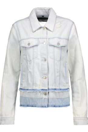 J BRAND Fringed distressed denim jacket