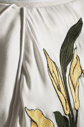 EQUIPMENT Kendrix embroidered washed silk-satin bomber jacket