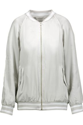 EQUIPMENT Kendrix embroidered washed silk-satin bomber jacket