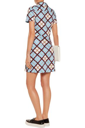 MARC BY MARC JACOBS Wrap-effect checked stretch cotton-poplin mini dress