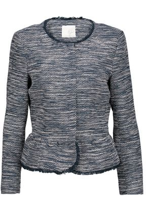 JOIE Milligan frayed cotton-blend bouclé peplum jacket