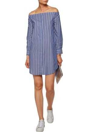 EQUIPMENT Gretchen off-the-shoulder striped cotton-broadcloth mini dress
