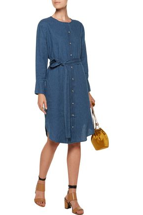 M.I.H JEANS Edie belted printed linen-jacquard dress