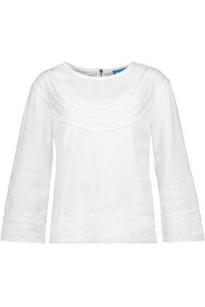 M.I.H JEANS Elsa lace-trimmed linen and cotton-blend top