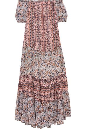 SEE BY CHLOÉ Off-the-shoulder tiered printed cotton maxi dress