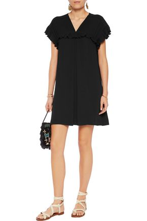 SEE BY CHLOÉ Ruffle-trimmed pleated crepe de chine mini dress