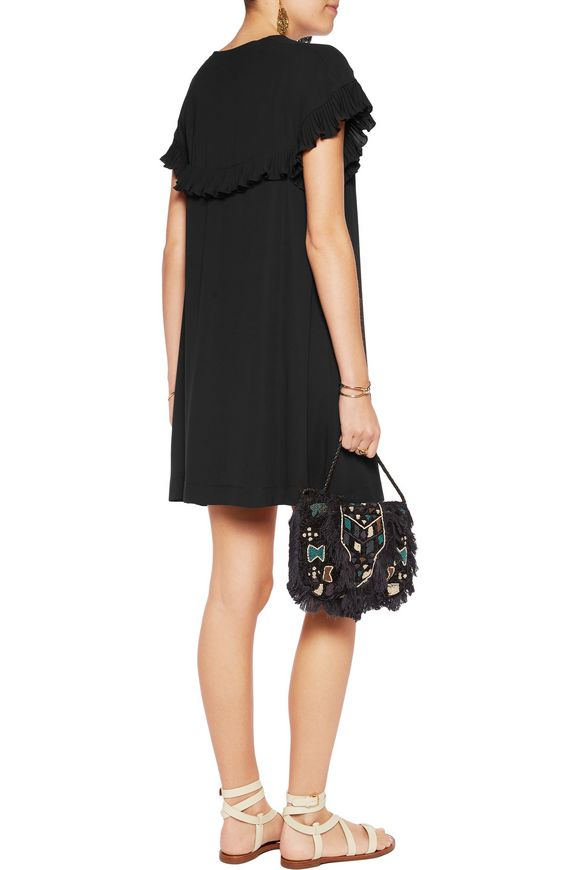 Ruffle-trimmed pleated crepe de chine mini dress | SEE BY CHLOÉ | Sale up  to 70% off | THE OUTNET