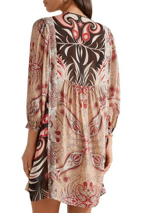 RACHEL ZOE Lucia printed silk crepe de chine mini dress