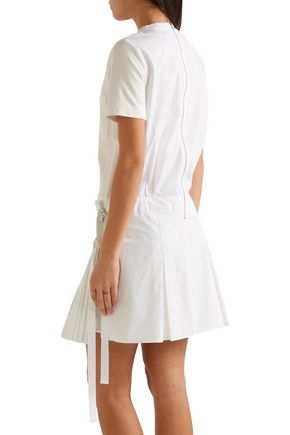 SEA Pleated cotton-poplin and jersey mini dress