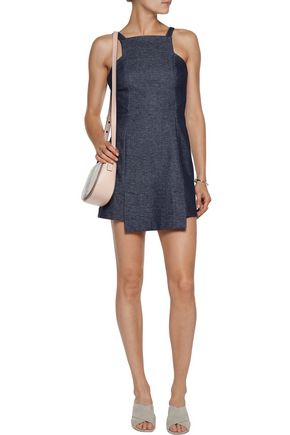 MARISSA WEBB Sia asymmetric stretch cotton-blend chambray mini dress
