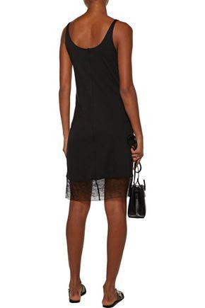 RAQUEL ALLEGRA Lace-trimmed stretch cotton-blend mini dress