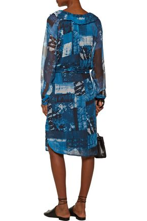 RAQUEL ALLEGRA Printed crinkled-chiffon dress