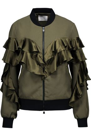 CINQ À SEPT Leia ruffled silk satin-paneled crepe jacket