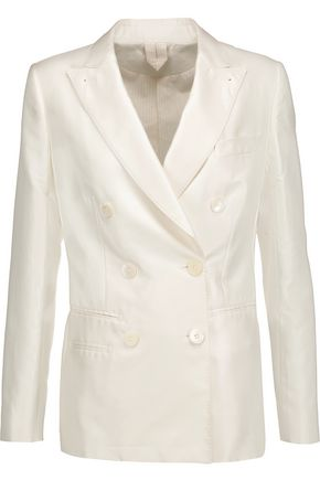 MAX MARA Cotton and silk-blend satin blazer