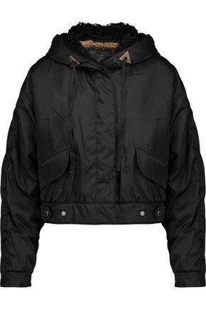 PRADA Cropped knitted and shell hooded jacket