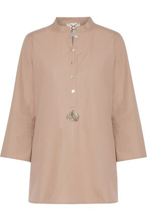 FIGUE Lisa sequin-embellished cotton-poplin tunic