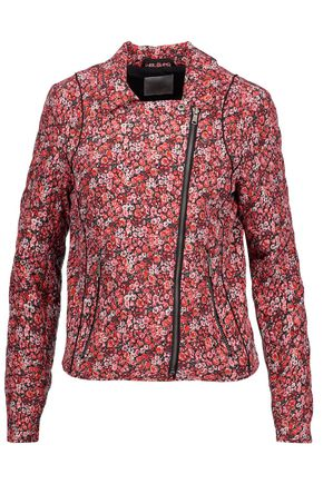JOIE Frona floral-print quilted silk biker jacket