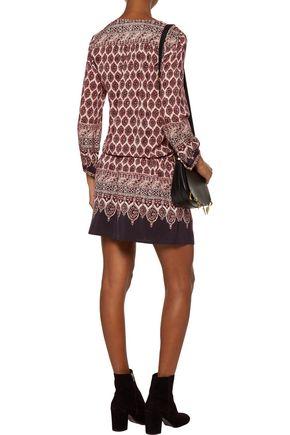 JOIE Katri printed washed-silk mini dress