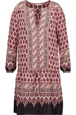 JOIE Katri printed washed-silk mini dress