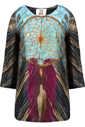 FIGUE Iris printed silk-satin top