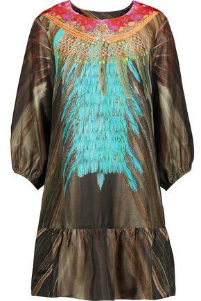 FIGUE Edie printed silk-satin mini dress
