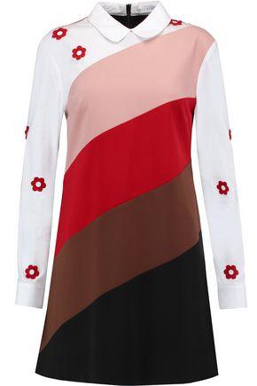 VIVETTA Appliquéd paneled cotton-blend poplin and twill dress
