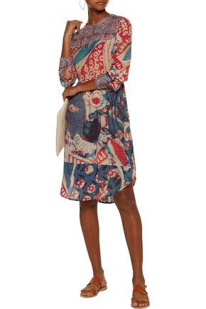 FIGUE Cheyenne printed cotton-blend crepe de chine dress
