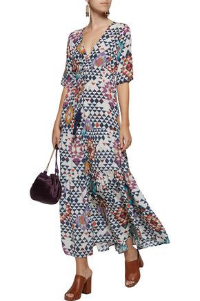 FIGUE Kalila gathered printed silk crepe de chine maxi dress
