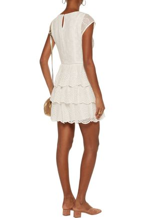 JOIE Altha lace-trimmed broderie anglaise silk mini dress