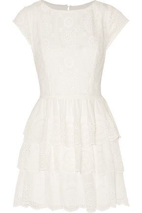 JOIE Tiered broderie anglaise silk mini dress