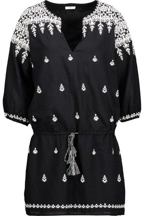JOIE Joren embroidered cotton-blend mini dress