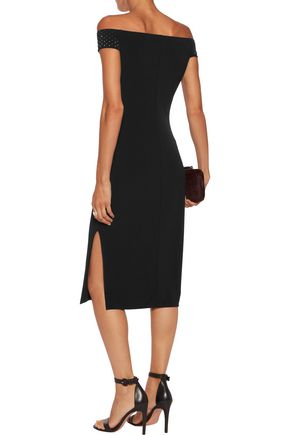 VELVET by GRAHAM & SPENCER Off-the-shoulder embellished stretch-jersey midi dress