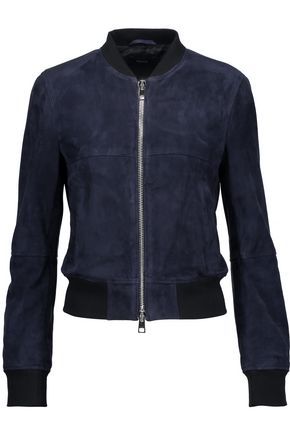 THEORY Daryette suede bomber jacket