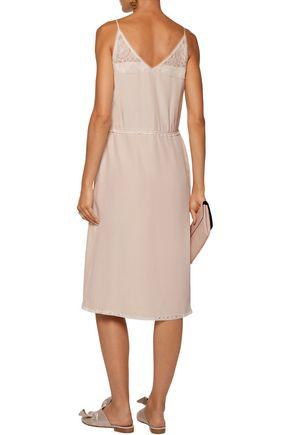 PRADA Lace-trimmed ruffled silk-crepe mini dress