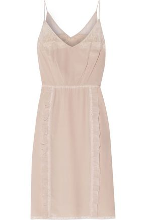 PRADA Lace-trimmed ruffled silk-crepe mini dress