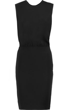 BY MALENE BIRGER Lacis black silk crepe de chine and crepe mini dress