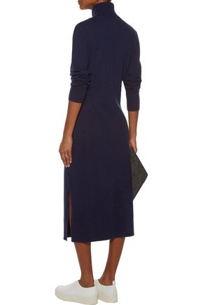 SANDRO Tie-front wool and cashmere-blend turtleneck midi dress