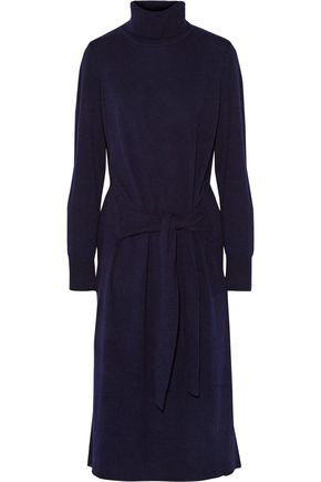 SANDRO Tie-front wool and cashmere-blend turtleneck midi sweater dress