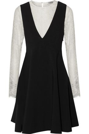 SANDRO Nita layered cutout corded lace and crepe mini dress