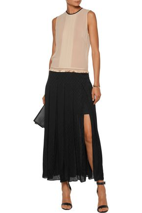 SANDRO Hanae pintucked pleated georgette and jacquard maxi dress