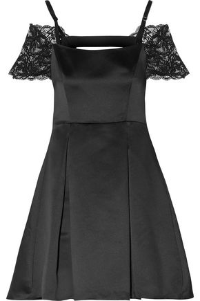 SANDRO Cold-shoulder lace-paneled duchesse-satin mini dress