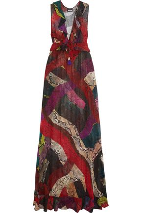 JUST CAVALLI Ruffled snake-print chiffon maxi dress