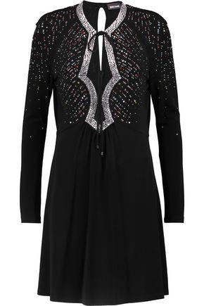 JUST CAVALLI Crystal-embellished stretch-crepe mini dress