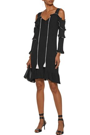 10 CROSBY DEREK LAM Cold-shoulder ruffled ribbed cotton dress