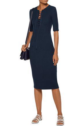 DEREK LAM 10 CROSBY Lace-up stretch-knit dress