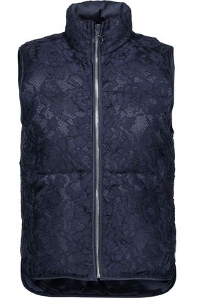 SANDRO Lowna corded lace and quilted shell vest